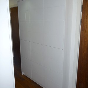 handmade white built-in storage