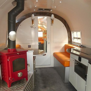 Vintage airstream clipper refurbishment sussex woodburner